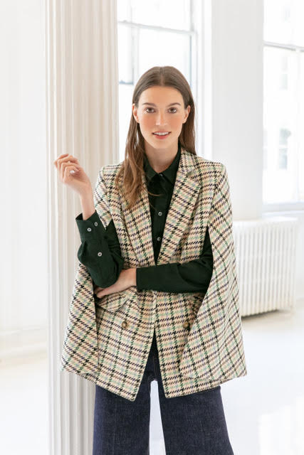 Houndstooth Button Front Cape